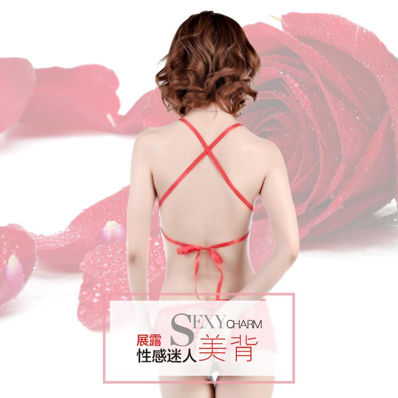红色镂空蕾丝文胸小裤套装夜字号-美咻咻商城