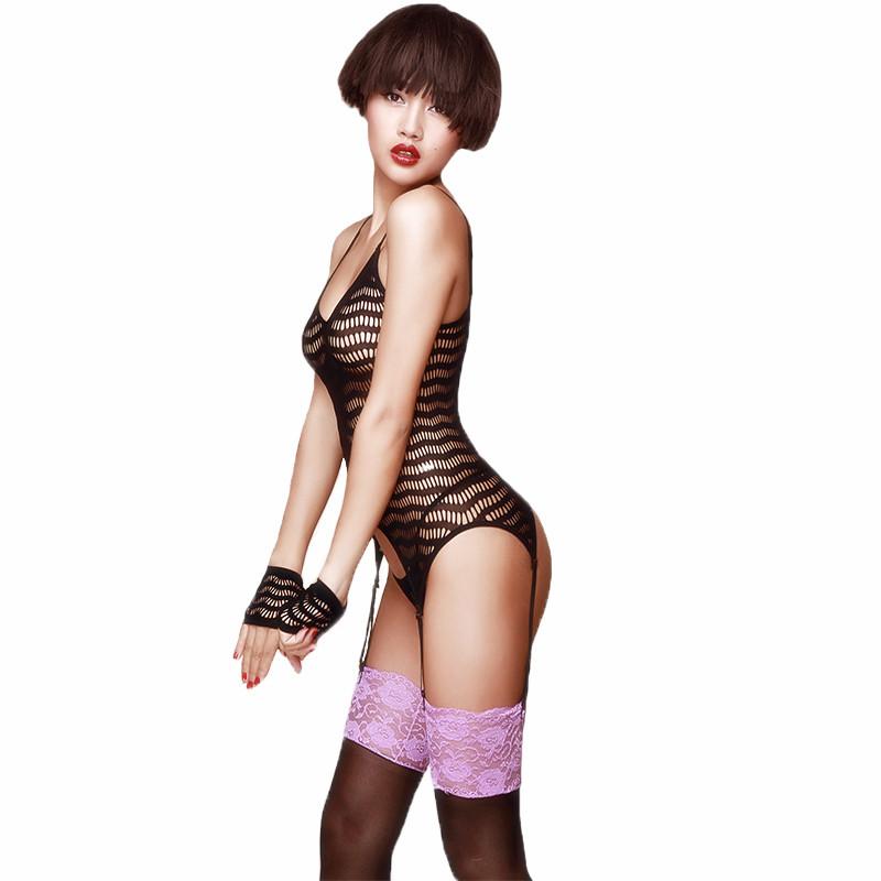 STACEY/史黛丝 女士情趣内衣制服诱惑内裤波浪纹束手丝袜露臀束身性感连体网衣-美咻咻商城