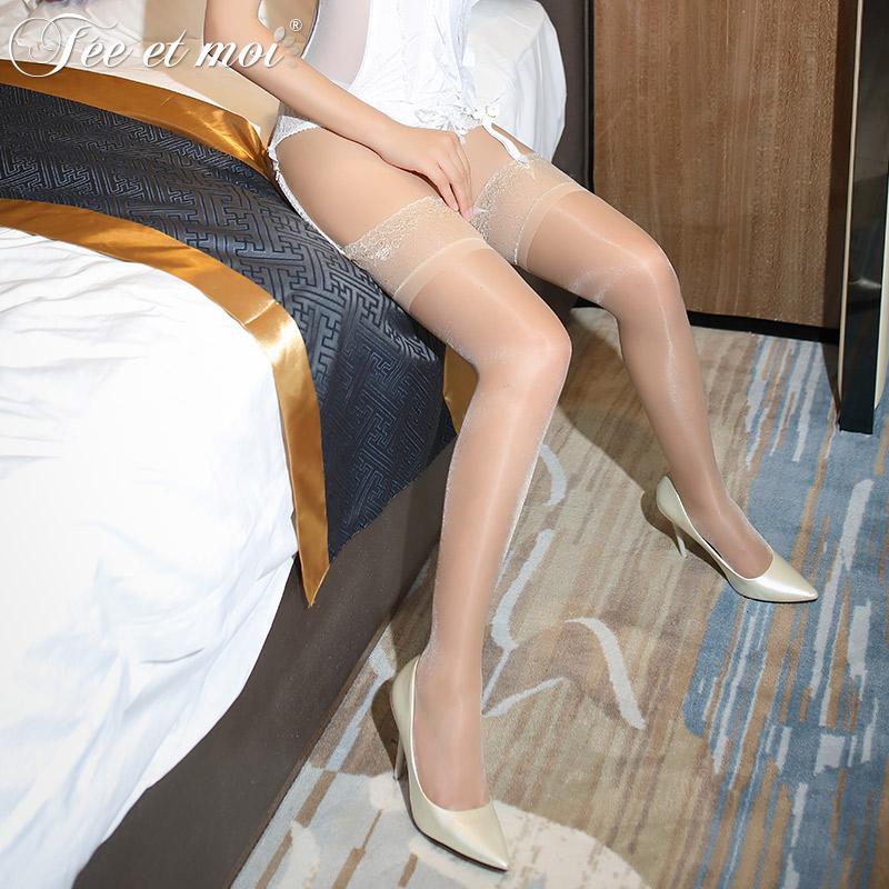 霏慕 蕾丝花边15D裸氨包芯丝硅胶防滑长筒丝袜-美咻咻商城