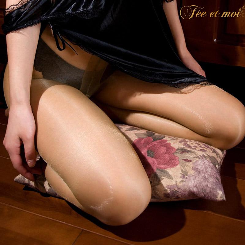 霏慕 包芯丝油亮透视开裆连裤袜情趣丝袜-美咻咻商城