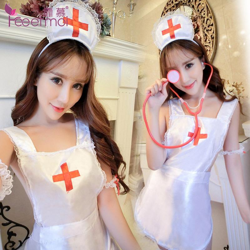 霏慕 诱惑角色扮演俏皮性感护士围裙式套装(不含袜)-美咻咻商城