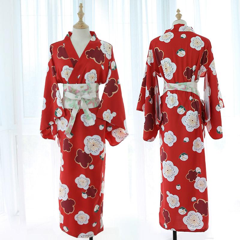 霏慕 制服诱惑日式樱花少女深V长款羽织和服套装-美咻咻商城