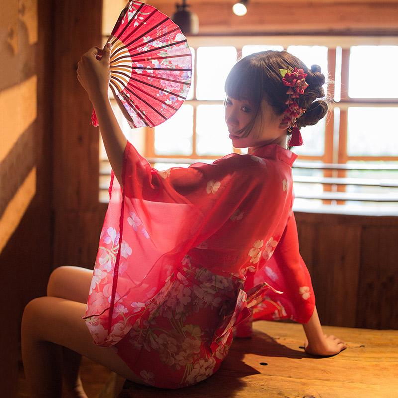 霏慕 日系性感套装蕾丝网纱印花雪纺透视复古和服-美咻咻成人情趣商城