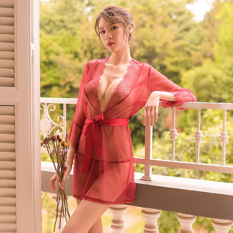 霏慕 蕾丝无锁边长袖透明诱惑性感睡衣睡裙-美咻咻成人情趣商城