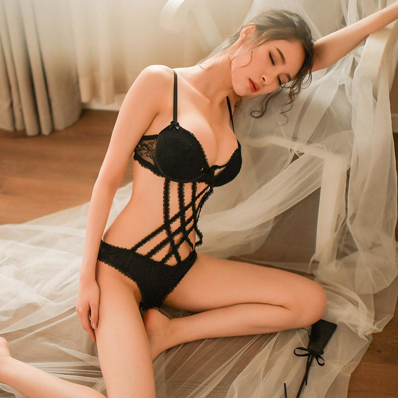 霏慕 女式钢托聚拢棉垫蕾丝网状三点式连体衣性感套装-美咻咻商城