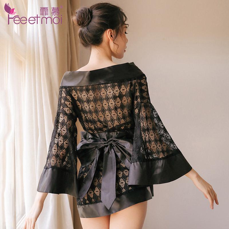 霏慕 蕾丝低胸网纱诱惑喇叭袖复古和服性感套装-美咻咻成人情趣商城