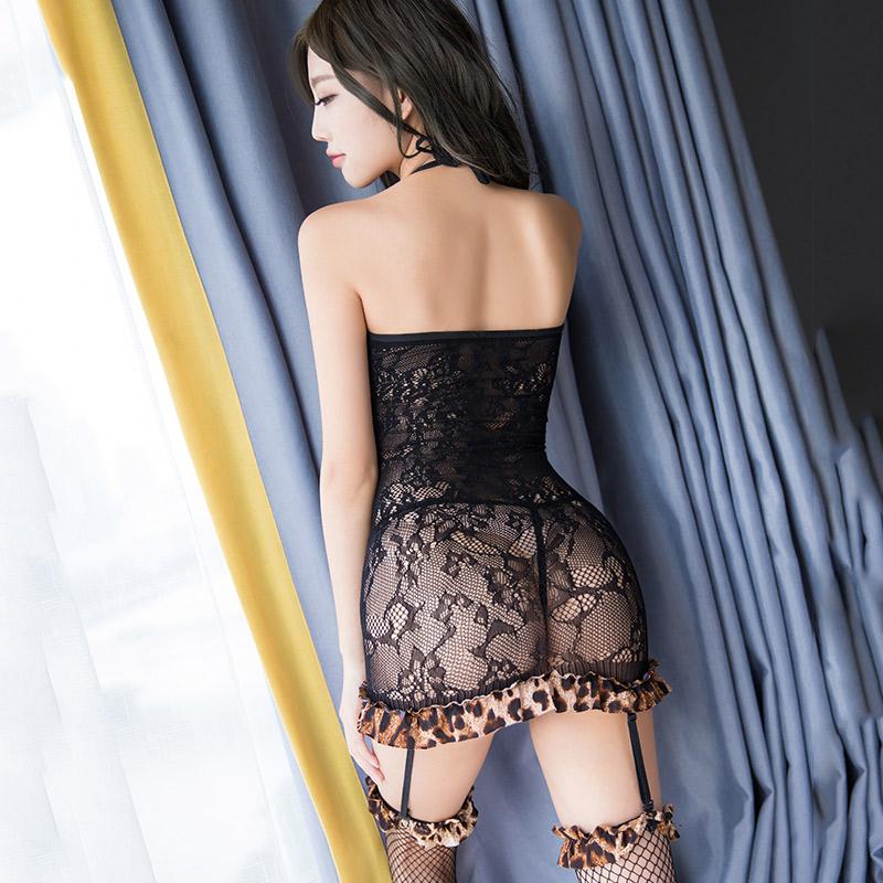 霏慕 豹纹透视性感包臀裙吊带连体衣丝袜-美咻咻商城