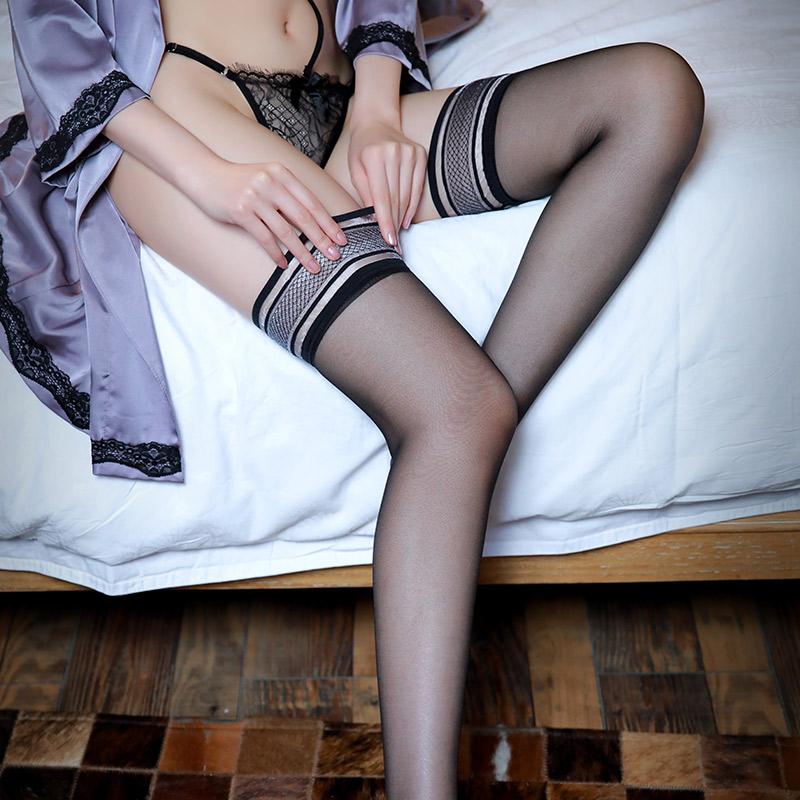霏慕 透明仿滑硅胶复古花边条纹长筒袜丝袜(单件袜)-美咻咻成人情趣商城