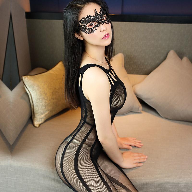 霏慕 蕾丝镂空显瘦竖条激情开裆性感女连身袜-美咻咻成人情趣商城