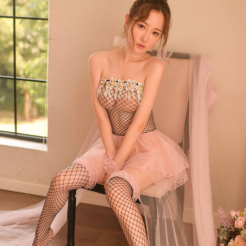 霏慕 网衣抹胸唯美俏皮可爱小公主网纱篷篷连衣裙-美咻咻成人情趣商城