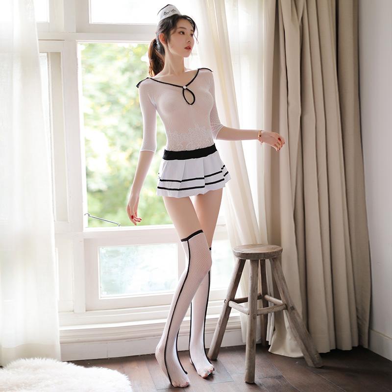 霏慕 制服诱惑气质空姐透视性感连身袜丝袜套装-美咻咻成人情趣商城