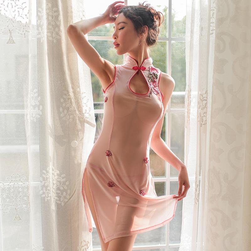 霏慕  古典刺绣玫瑰旗袍透视激情套装-美咻咻成人情趣商城