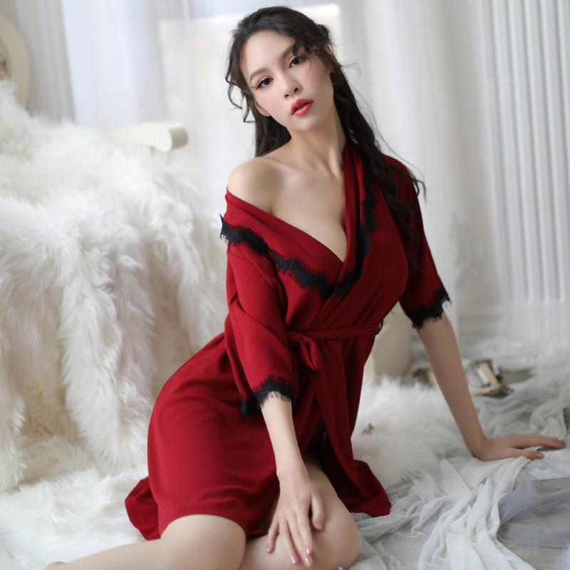 柠檬物语 女式大码丝滑睡衣透视装系带睡裙-美咻咻成人情趣商城