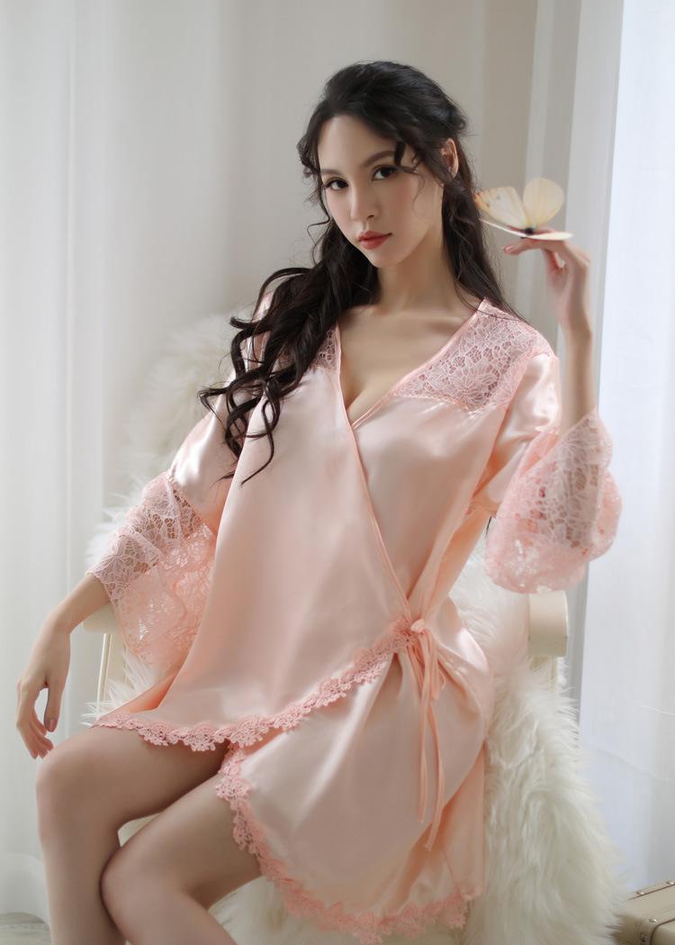柠檬物语 大码樱花系带丝滑睡衣透视套装-美咻咻成人情趣商城
