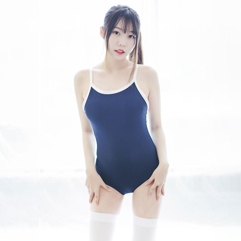 日系吊带死库水泳衣女学生连体泳装 -美咻咻成人情趣商城