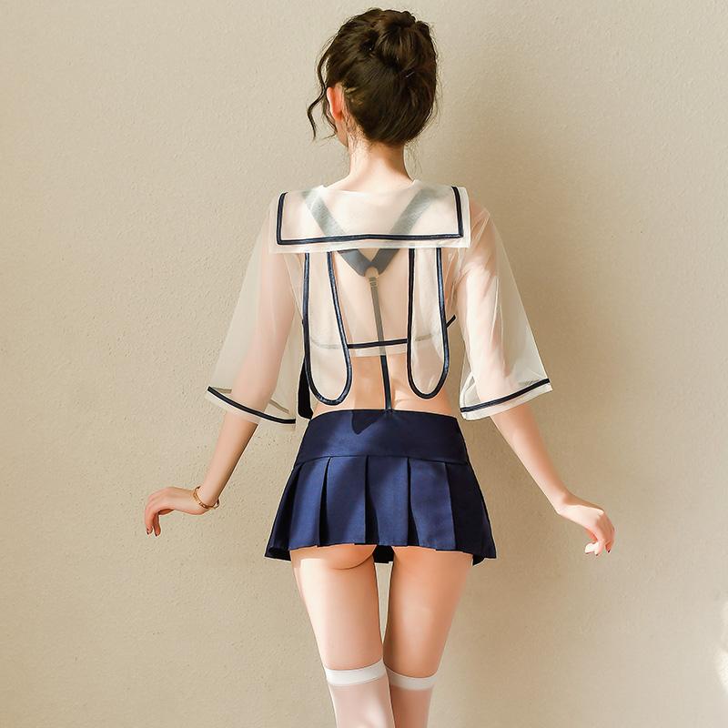 霏慕 清纯性感萌兔背带透视学生装制服诱惑套装-美咻咻商城