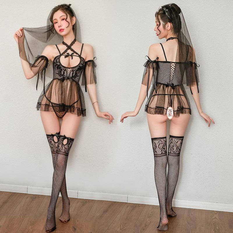 性感娇媚暗黑新娘透视轻纱情趣丝袜网衣裙套装-美咻咻商城