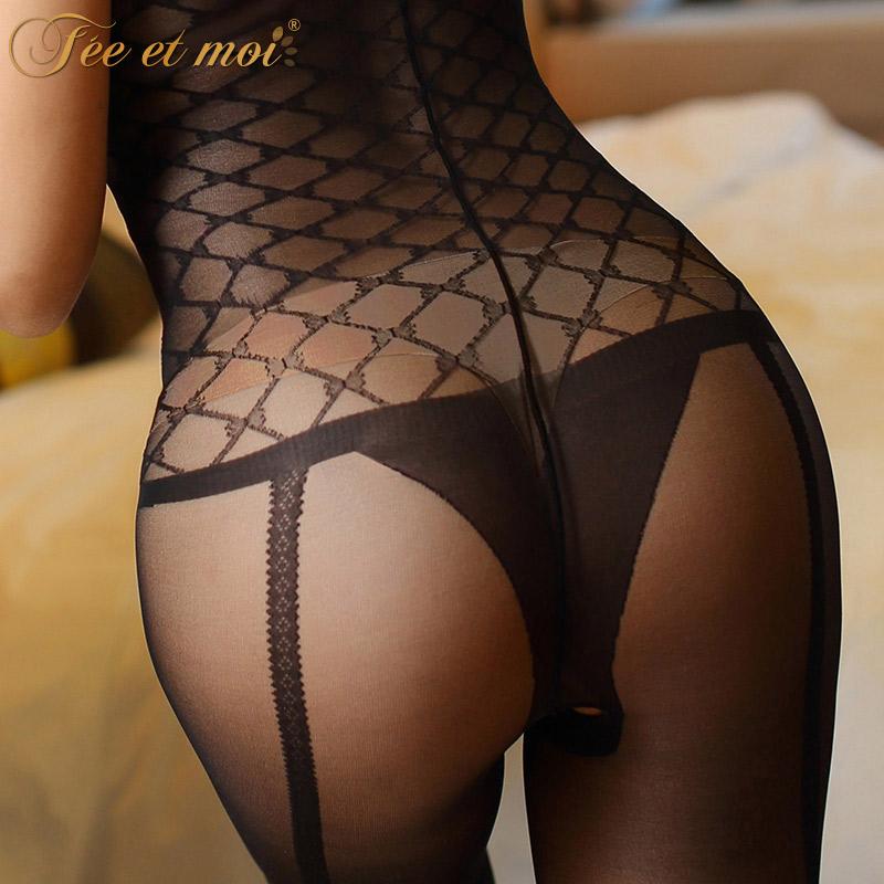 女式情趣内衣性感丝袜诱惑透视薄连身袜网格袜-美咻咻商城