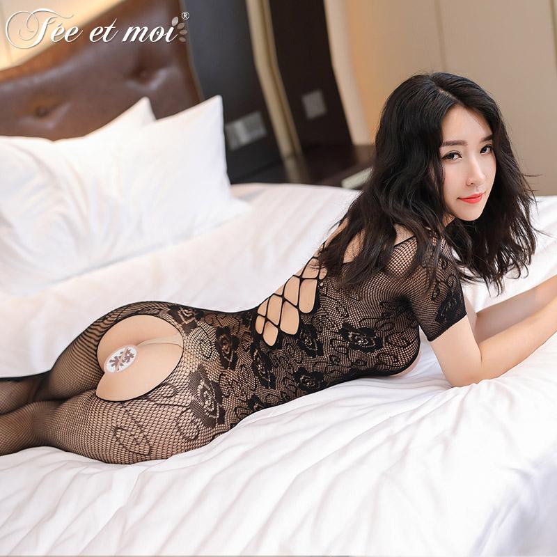 性感情趣内衣透视镂空提花开档情趣连体衣连身丝袜-美咻咻商城
