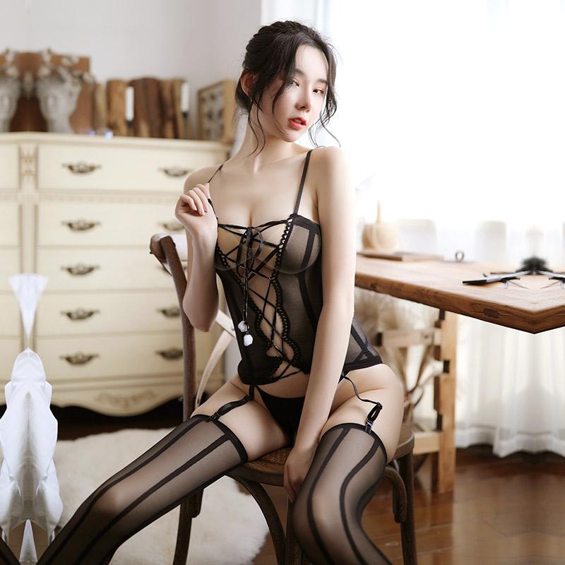 情趣内衣成人性感黑丝袜套装透视开裆连身袜-美咻咻商城