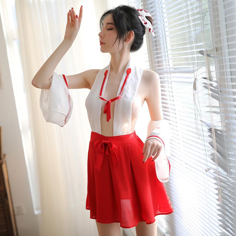 制服诱惑性感巫女装情趣内衣三点式激情套装7005-美咻咻商城
