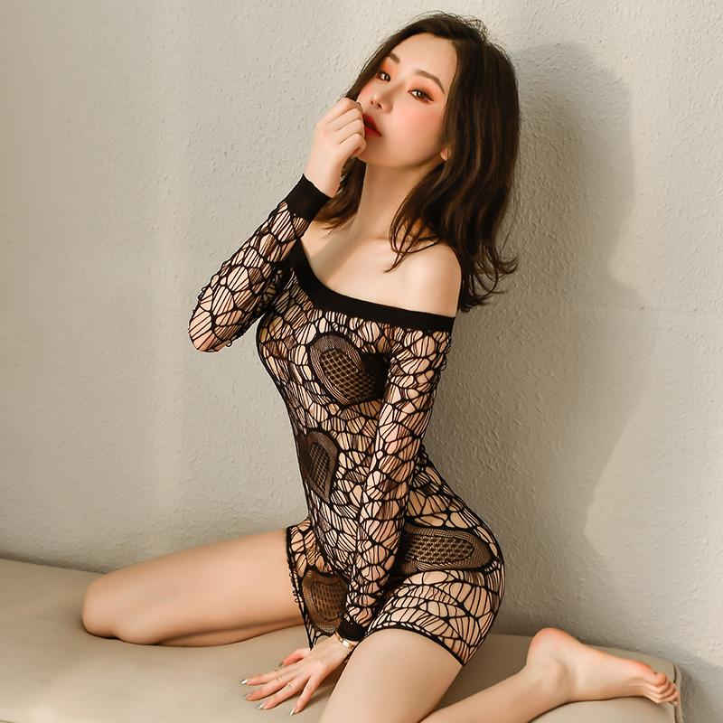 情趣内衣 性感欧美甜蜜爱心镂空透视包臀抹胸网衣-美咻咻商城