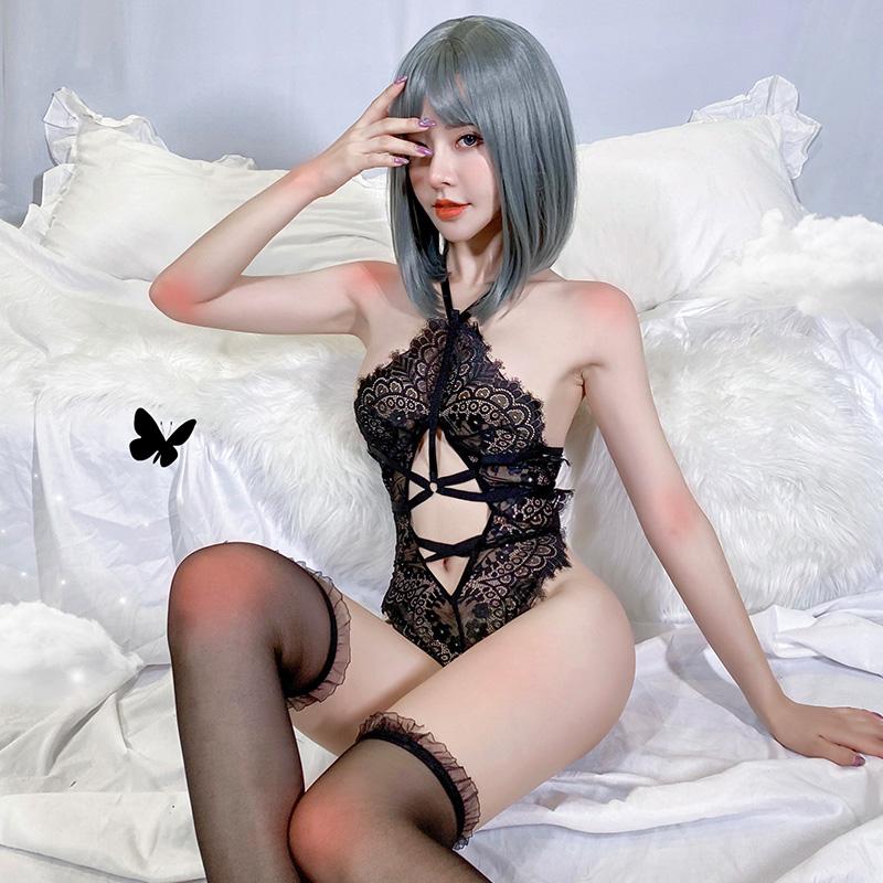 情趣内衣 性感欧美交叉sm束缚挂脖蕾丝连体衣(带丝袜)-美咻咻商城