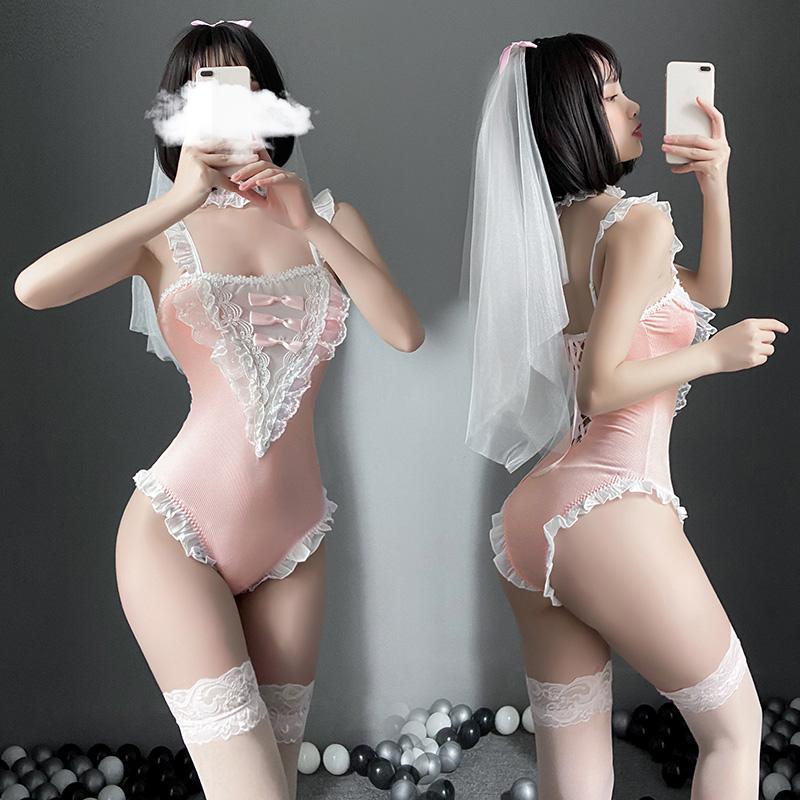 霏慕 成人女用情趣内衣二次元新娘连体衣套装(带丝袜)-美咻咻商城