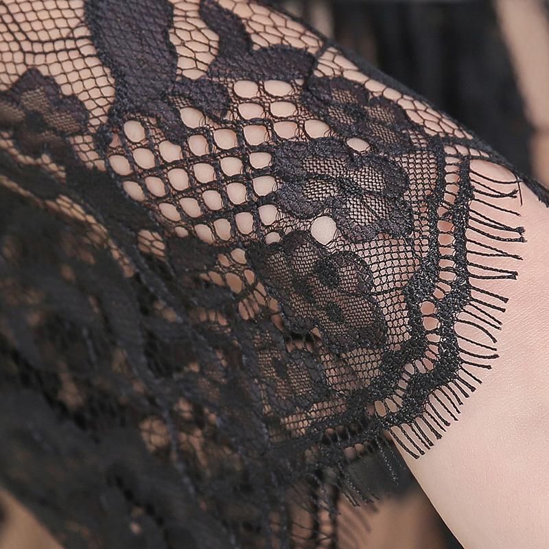 夜字号魔力狮子座黑色网纱极致诱惑睡裙套装-美咻咻商城