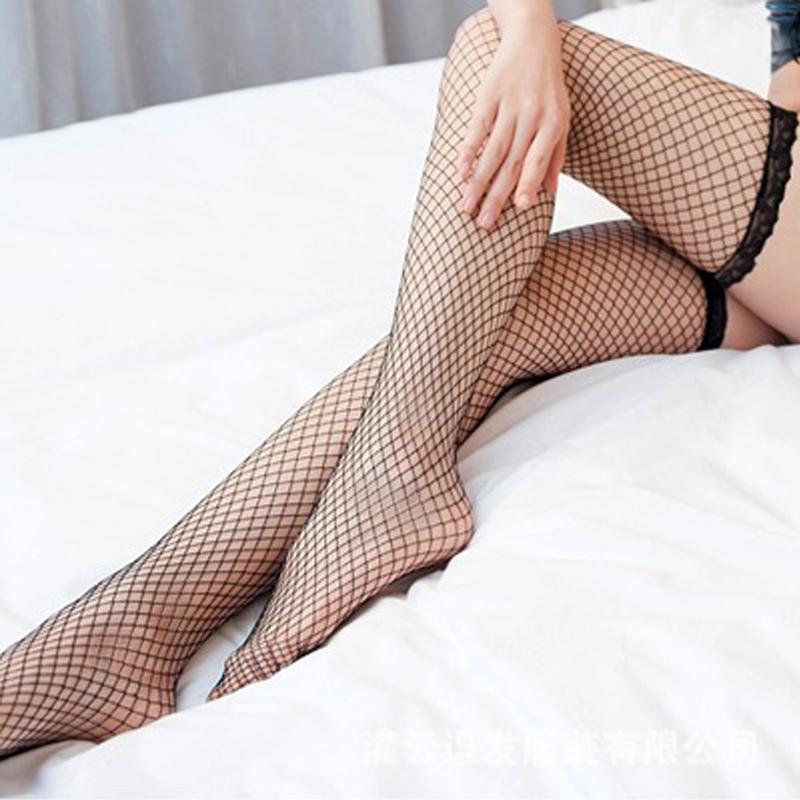 长筒蕾丝渔网袜紧口过膝长筒袜热辣网眼-美咻咻商城