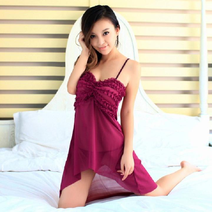 耶妮娅 纱薄网面优雅性感吊带褶皱条纹睡裙-美咻咻商城