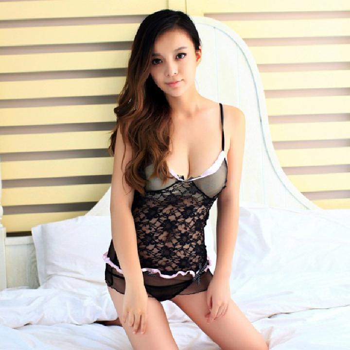 耶妮娅 纱薄透视蕾丝性感魅惑吊带情趣短裙-美咻咻商城