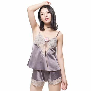 史黛丝 女式性感吊带背心短裤套装 高档仿真丝绸露背情趣内衣睡衣-美咻咻商城
