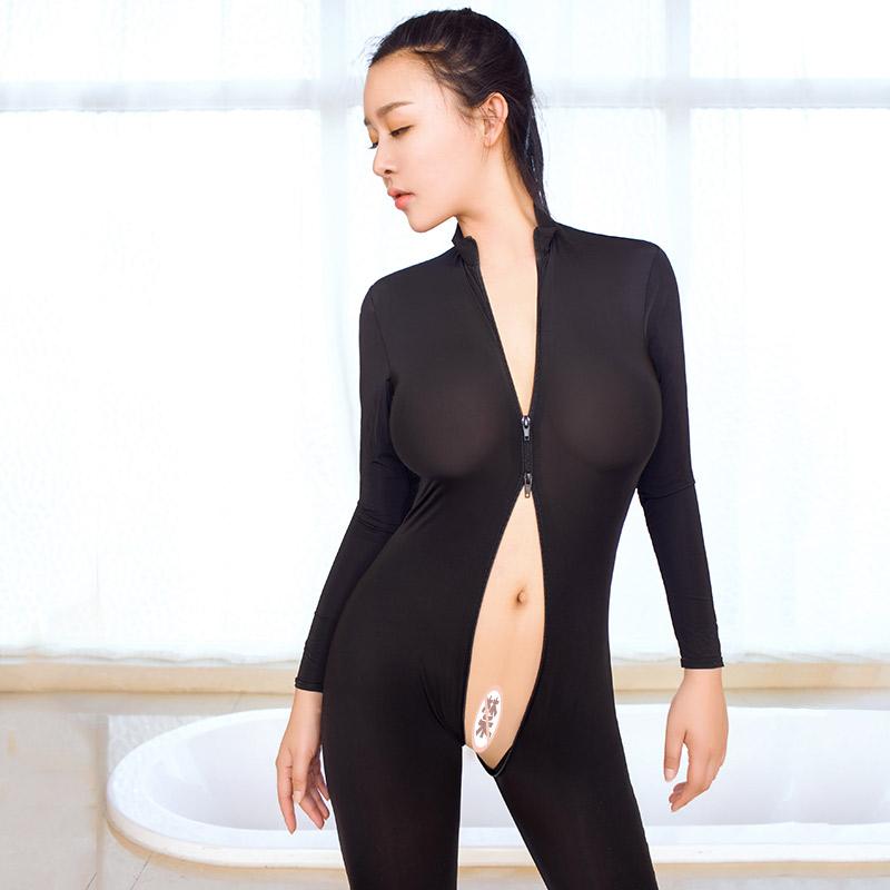霏幕女士双头拉链弹力冰丝长袖性感连体情趣内衣-美咻咻情趣用品商城