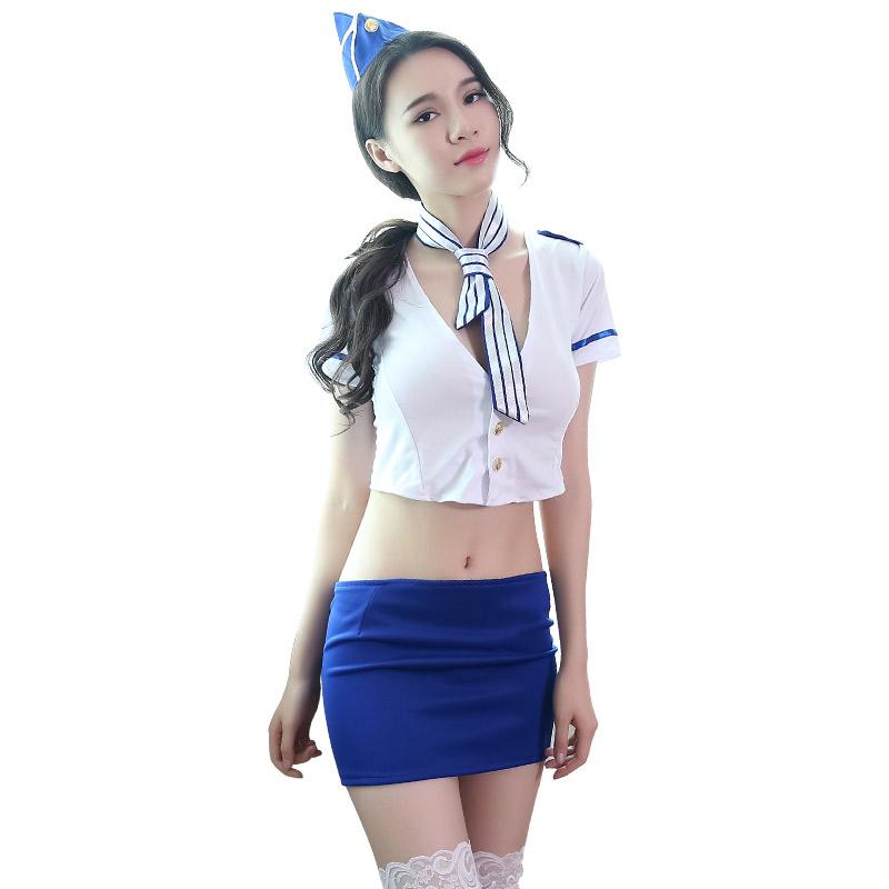 霏慕 情趣内衣性感制服诱惑角色扮深V包臀裙俏丽OL空姐套装-美咻咻商城