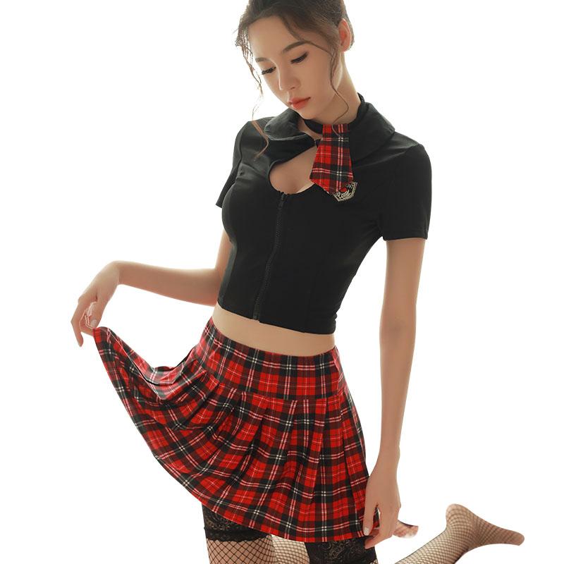 霏慕 高端高品质英伦风学生制服诱惑性感套装-美咻咻商城