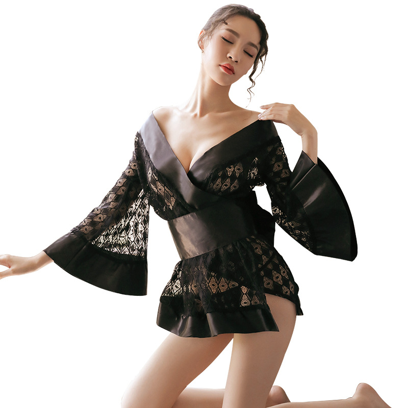 霏慕 蕾丝低胸网纱诱惑喇叭袖复古和服性感套装-美咻咻商城
