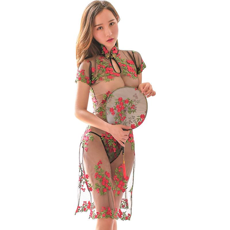 霏慕  制服诱惑长款玫瑰绣花透视性感复古旗袍-美咻咻商城