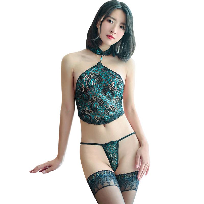 霏慕 性感透明孔雀刺绣花纹蕾丝制服诱惑肚兜套装(含丝袜)-美咻咻商城
