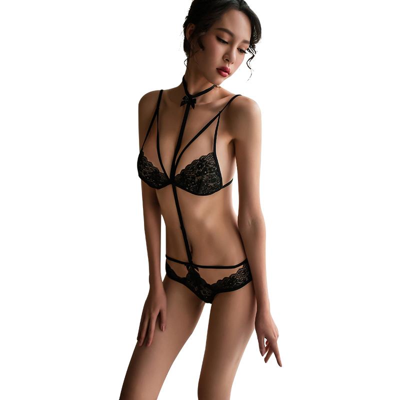 霏慕 风情蕾丝三点式情趣内衣捆绑激情套装挑逗透视装-美咻咻商城