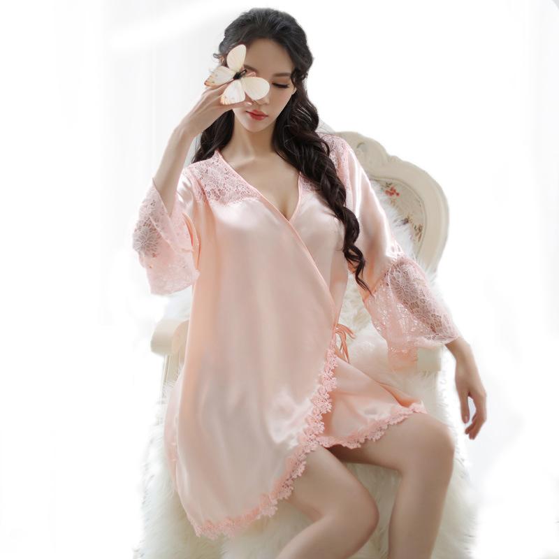 柠檬物语 大码樱花系带丝滑睡衣透视套装-美咻咻商城