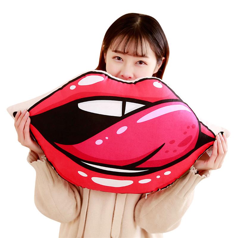 性感红唇大嘴唇靠垫抱枕恶搞结婚压床生日礼物60*30cm-美咻咻情趣用品商城