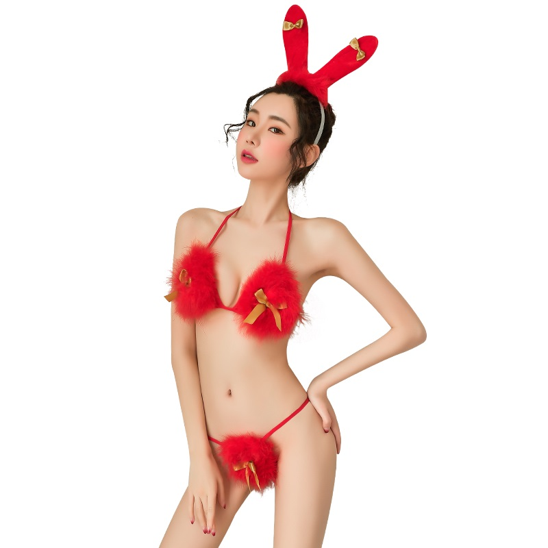 制服诱惑性感文胸俏皮兔女郎发箍圣诞三点式套装-美咻咻商城