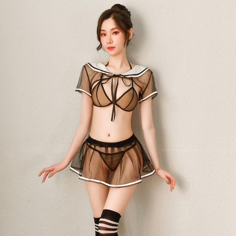 情趣内衣比基尼三点式透纱透视学生jk制服套装配丝袜-美咻咻商城
