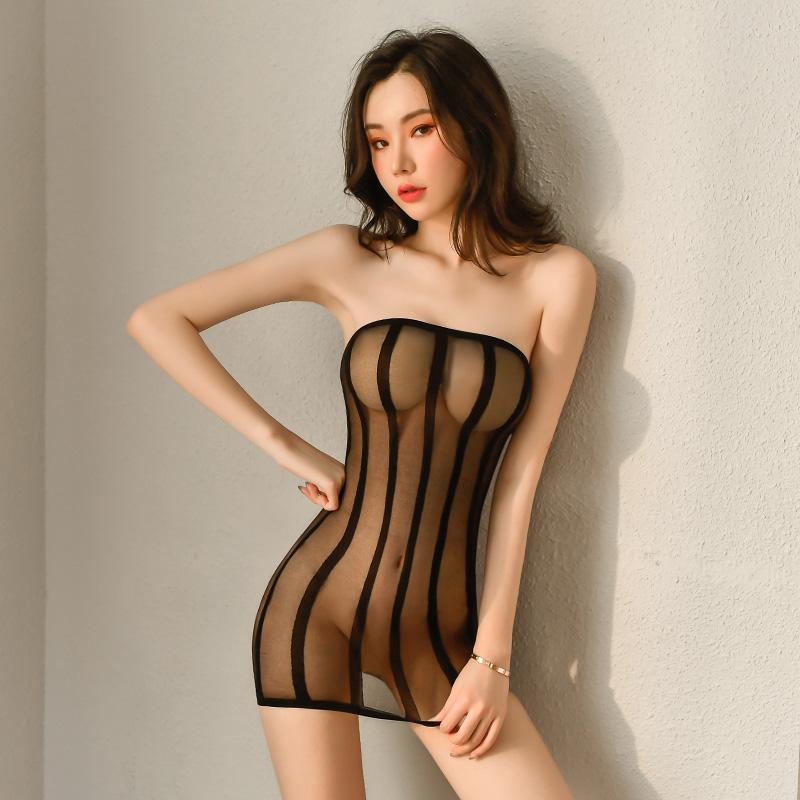 情趣内衣 性感迷情竖条纹抹胸透视包臀-美咻咻情趣用品商城