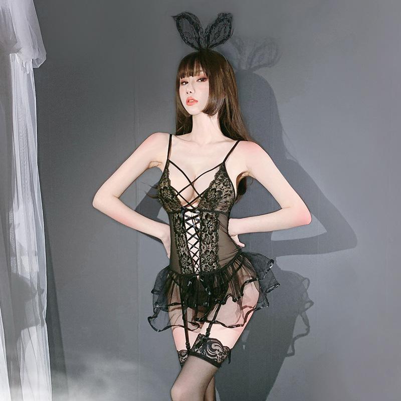 性感梦幻网纱蕾丝公主交叉绑带聚拢睡裙(带丝袜)-美咻咻商城