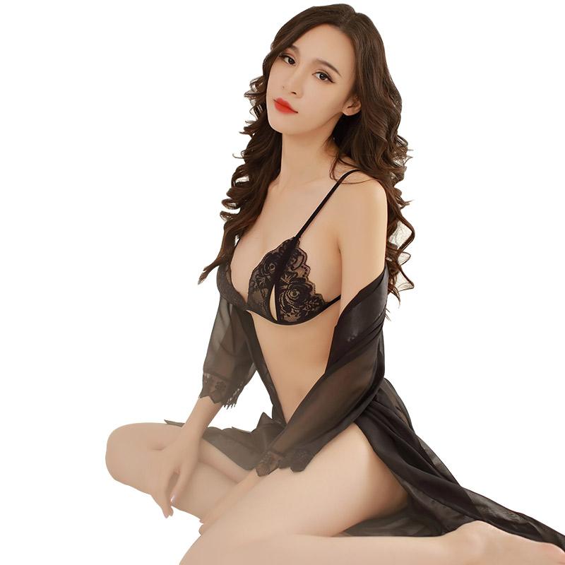 霏慕 女式性感透明三点式睡裙制服诱惑睡衣裙套装-美咻咻商城