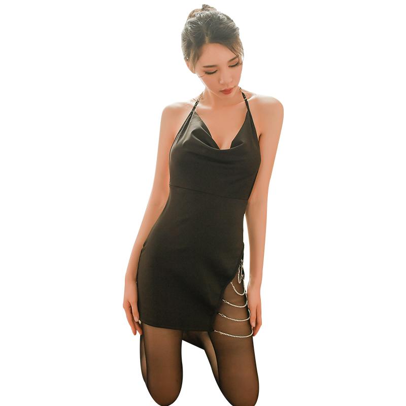 霏慕 闪耀钻链侧面开叉绑带露背性感包臀裙-美咻咻成人情趣商城