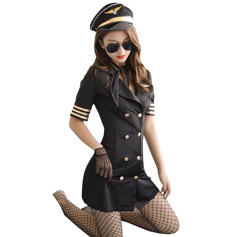 霏慕 新款性感情趣内衣女装紧身包臀裙激情诱惑空姐制服-美咻咻商城