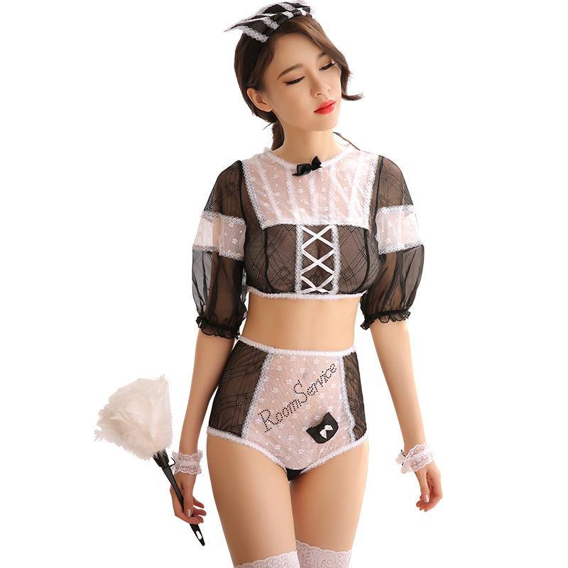 霏慕 情趣内衣女装角色扮演制服诱惑透视蕾丝性感女仆套装-美咻咻商城